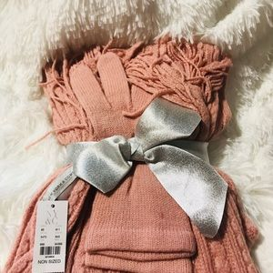 New York & Company Knitted Scarf and Gloves Set